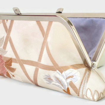 """Floral Cream Clutch Purse With Pink And Lilac Flowers On A Cream And Gold Background, Japanese Embroidered Obi Silk Bridal Purse 9"""" x 4"""""""