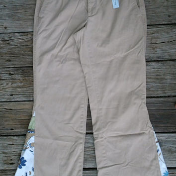 Size 4 Khaki Womens Bell Bottom Tapestry Flares - Handmade by The Hippie Patch