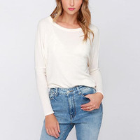 White Cutout-Back Long Sleeve Shirt