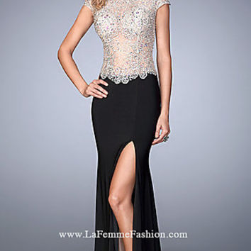 Drop Waist Sheer Illusion Long Gigi Prom Dress