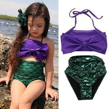 Girls Kids Baby Mermaid Tail Swimmable Bikini Set Swimwear Swimsuit Swimming Costume