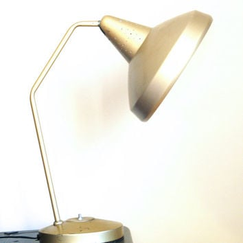 Vintage Gold Swivelier Desk Lamp / Mid Century Metal Table Lamp / Flying Saucer 1950s / Made in America