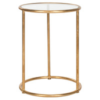 Porter Glass Accent Table, Gold, Standard Side Tables