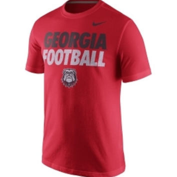 NCAA Georgia Bulldogs Nike Football Practice Red Cotton Shirt