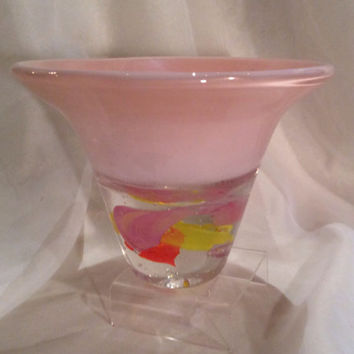Glass Art Paperweight Bowl - Hand Blown.  Hand Blown Glass Heavy Bottom Paperweight Bowl in Spring Colors