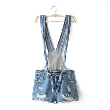 Korean Summer Women's Fashion Ripped Holes With Pocket Strap Rinsed Denim Denim Shorts Romper [4918829252]