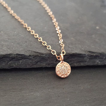 Delicate Rose Gold Charm Necklace, PAVE DIAMOND Charm, Dainty Rose Gold Charm Pave Diamond Necklace, Circle Round Disc Pendant Necklace