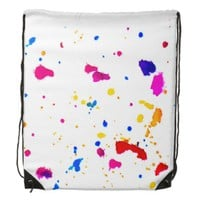 Multicolor Splatter Abstract Print Drawstring Bag