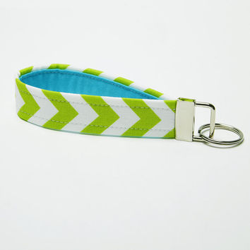 Chevron Key Fob, Fabric Key Chain, Handmade Wristlet Strap - Lime Green and Aqua Blue