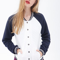 FOREVER 21 Quilted Varsity Jacket Cream/Navy Large