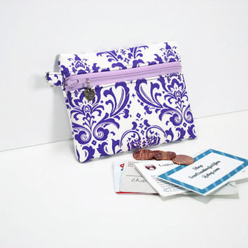 Small Coin Purse/Change Wallet, ID/Card Wallet,Zippered Coin Pouch,Purple and White Print Coin Purse