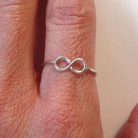 Sterling Silver Infinity Ring, figure 8 solid sterling silver single ring