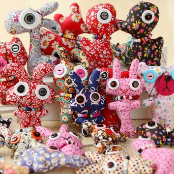 6pcs/lot mix models irregular shape button Plush doll , plush stuffed toys gift doll with string rope