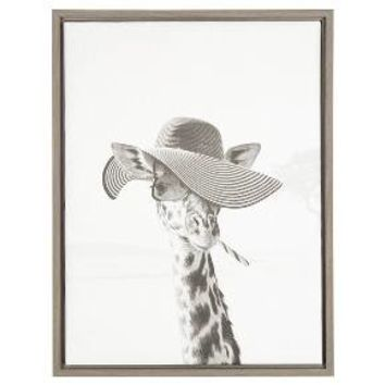 "Sarifa Giraffe Framed Canvas Art Gray (24""x18"") - Uniek"