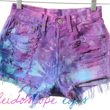 Vintage Levis DYED Destroyed High Waist Colorful MARBLED Denim Cut Off Shorts XS