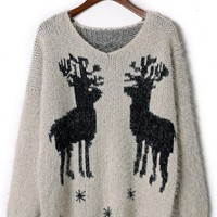 Christmas Elk Fluffy Sweater - New Arrivals - Retro, Indie and Unique Fashion