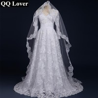 QQ Lover 2017 Sexy Long Sleeves Lace Vestido De Noiva With Veil Custom-Made Bridal Gown Wedding Dress