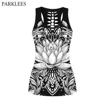 Summer Fashion Sexy Tank Tops Women 3D Mandala Lotus Printed T Shirt 2018 New Hollow Out Bandage Top Punk Rock Camisole Clothing