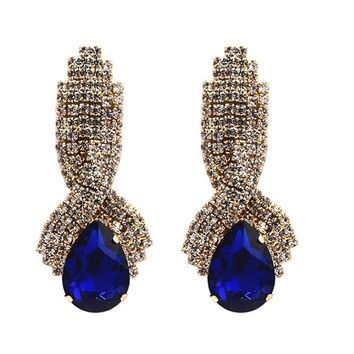 Water Drop Big Crystal Drop Earrings