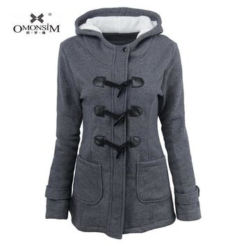OMONSIM Plus Size 5Colors Cotton-padded Clothes Hooded Wool Blended S-6XL Leather Buckle Winter Coat Hot Selling 0398