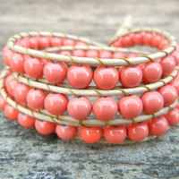 Beaded Leather Wrap Bracelet 3 Wrap with Pink Coral Glass Beads on Natural Tan Leather Spring Summer Collection