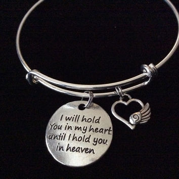 Angel Wing I will Hold you in my Heart Until I can Hold you in Heaven Silver Expandable Charm Bracelet Adjustable Bangle Gift Jewelry Inspirational