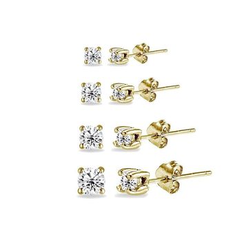 4 Pair Set Round CZ Stud Earrings in Gold Plated 925 Silver 2mm 3mm 4mm 5mm