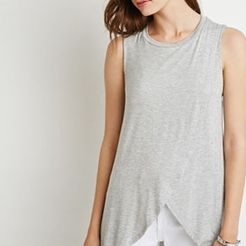 Tulip-Front Heathered Top