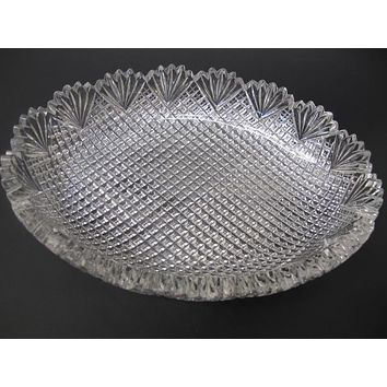 American Brilliant Period Cut Glass oval low bowl strawberry diamond fan