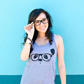 Nerdy Panda Tank Top - Heather Grey - Unisex Sizes XS, S, M, L