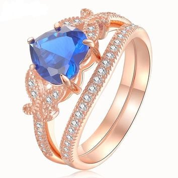 2.2 Ct Wedding Rings 925 Sterling Rose Gold Color Blue Heart Shape AAA CZ Bridal Set