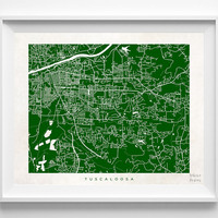Alabama, Tuscaloosa, Print, Map, AL, Poster, State, City, Street Map, Art, Decor, Town, Illustration, Room, Wall Art, Customize