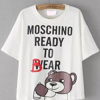 Bear Letter Print Short Sleeve Graphic T-shirt