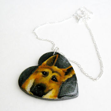 Dog Necklace Made to Order - German Shepard Jewelry - Heart Shape Wooden Dog Pendant Hand Painted Jewelry - Custom Doggie Necklace