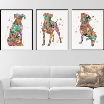 Boxer Wall Art, Set of 3 Prints, Boxer Watercolor, Boxer Wall Decor, Boxer Art Print, Boxer Poster. Dog Lover Gift, Dog Prints. Framed Art