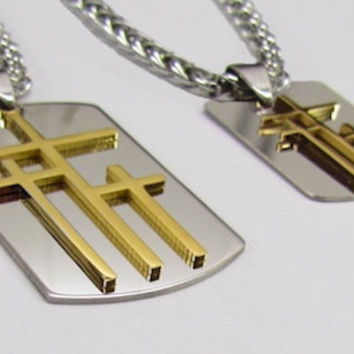 Silver Gold Calvary 3 Cross with Dog Tag Medallion Stainless Steel and 4mm Braided Chain - Saint Michaels Jewelry