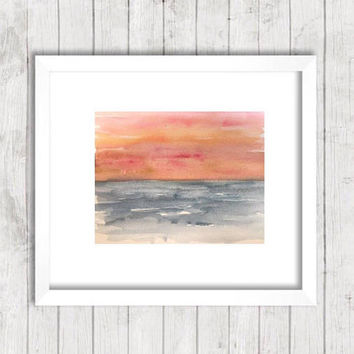 Abstract Ocean Painting, Watercolor seascape, Beach house artwork, Coastal wall art, Sunset painting, impressionist art, tropical painting