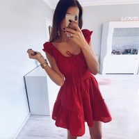 Red Casual Linen A-Line Dresses Women Elastic Waist Elegant Sexy Beach Sundress Party Wrap Dress