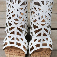 Kiss And Tell White Leather Caged Cork Wedge Sandals