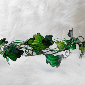 Summer crown in green, circlet, wedding, accessories, handmade