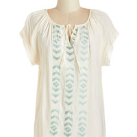 ModCloth Boho Mid-length Short Sleeves Light Lunch Top