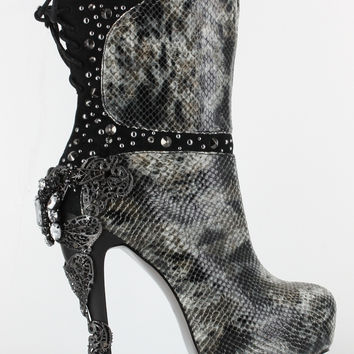 Hades Mc Queen Boot Black Snake skin