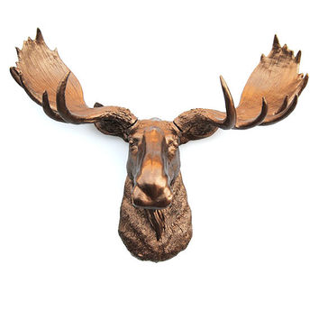 White Faux Taxidermy - Faux Moose Head - The Cola - Bronze Resin Moose Head- Moose Resin Bronze Faux Taxidermy- Chic & Trendy