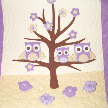 Owl Quilt, Owl Blanket, Organic Nursery Bedding, Personalized Baby Shower Gift, Child Decor, pink beige white HET