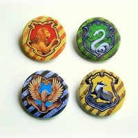 "Harry Potter Hogwarts Houses (Gryffindor, Ravenclaw, Hufflepuff, Slytherin) 4x1.5"" pinback button badge set from Stickerama"