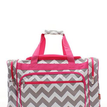 Machine embroidered 19in Duffle Bag- Gray Chevron pattern with pink trim.  Includes FREE Personal Embroidery