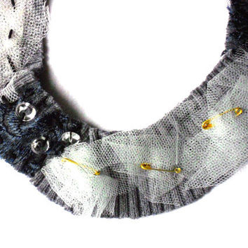 Recycled fabric  necklace Bib with safety pins  beads and lace for her  - one of a kind - OOAK