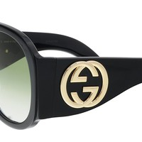 Gucci GG 0152 S- 002 BLACK / GREEN Sunglasses