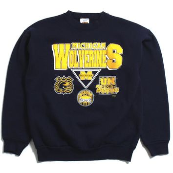University of Michigan Wolverines Logo Patches 20/20 Sport Crewneck Sweatshirt Navy (Large)