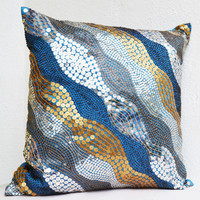 Blue throw pillows with silver, copper sequins - Silver pillow - Gold pillow - Sequin Throw pillow - couch pillow - gift pillow - 18X18